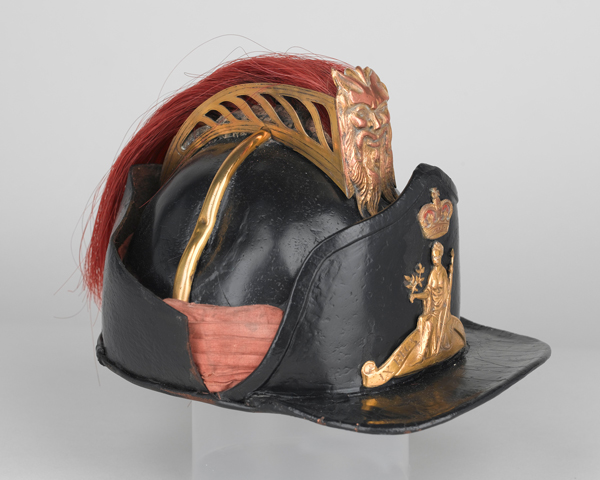 Officer's leather helmet, light company, 9th Regiment of Foot, c1780