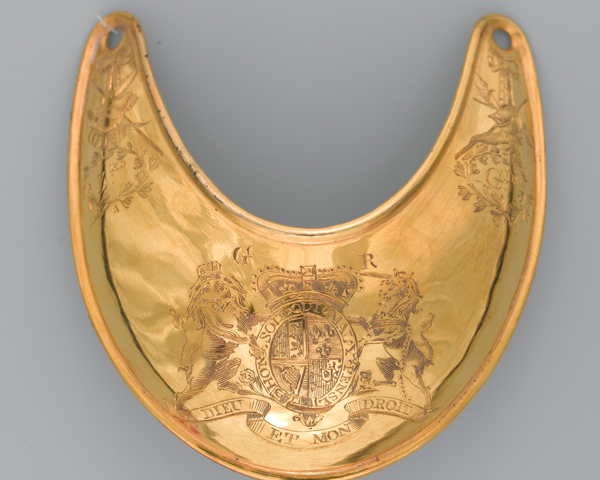 Gorget worn by Captain Sir Francis Carr Clerke who was killed at Saratoga, 1777