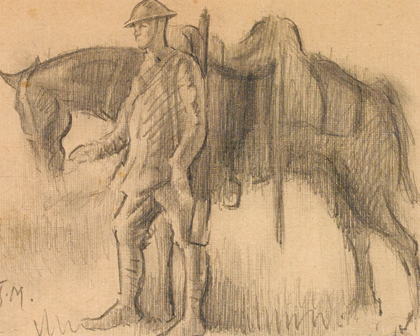 A Canadian trooper and his horse, 1918