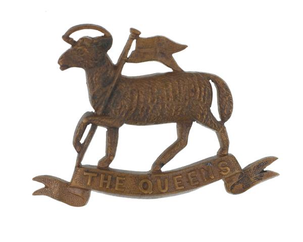 Cap badge, The Queen's (Royal West Surrey) Regiment, c1912