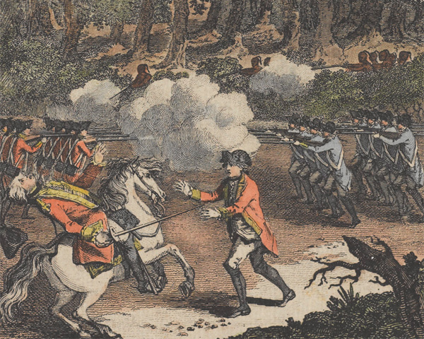 The defeat of General Braddock at Monongahela, 1755