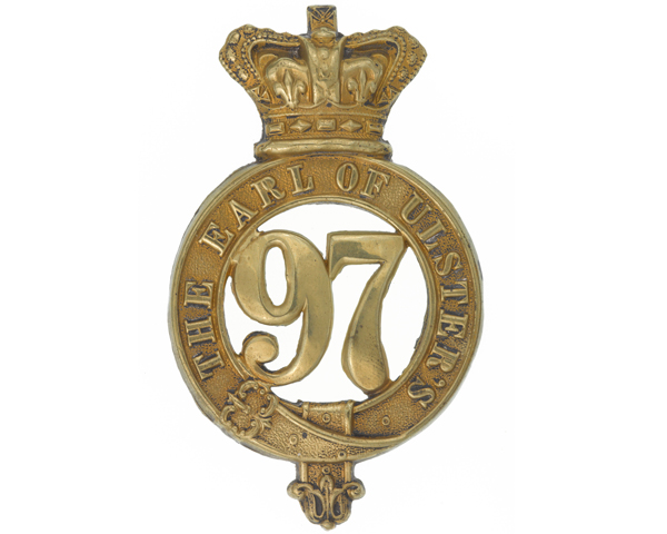 Other ranks' glengarry badge, 97th (Earl of Ulster's) Regiment of Foot, c1874