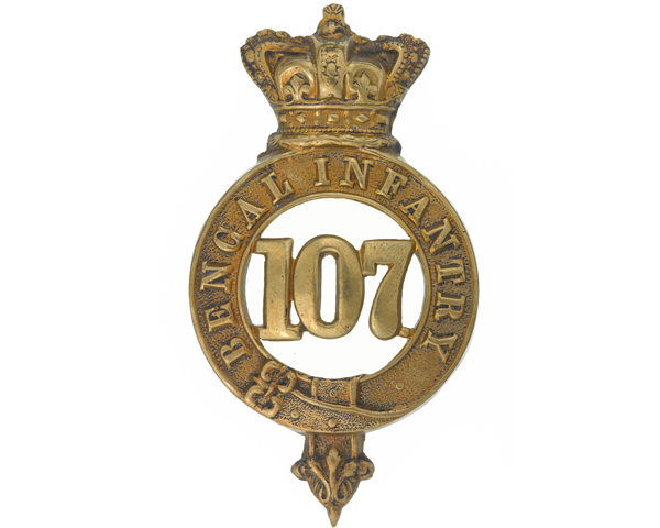 Other ranks' glengarry badge, 107th Regiment of Foot (Bengal Infantry), c1874