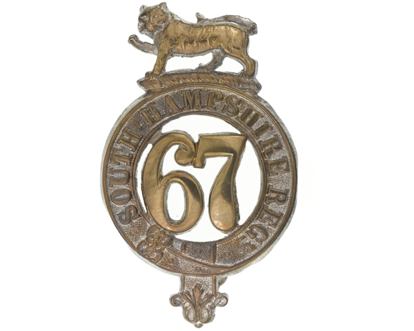 Glengarry badge, 67th (South Hampshire) Regiment of Foot, c1874