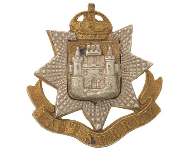 Other ranks' cap badge, The East Surrey Regiment, c1914