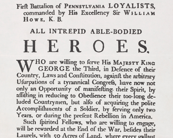 Recruiting poster, 1st Pennsylvania Loyalists, c1778