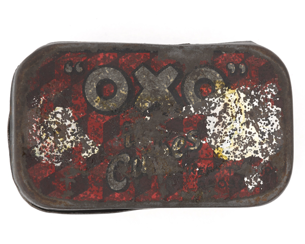 Private Stephen Palmer's Oxo tin that stopped a bullet, c1915