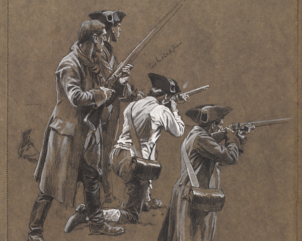 Patriot militiamen at Lexington, 1775