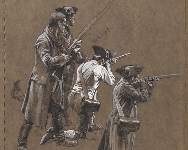 Patriot militiamen at Lexington, 1775
