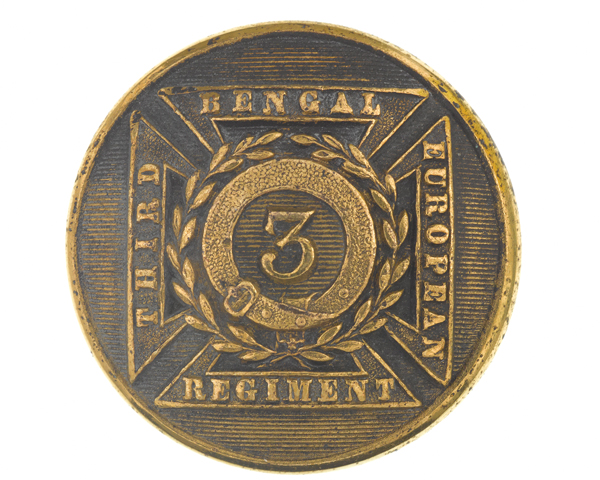 Officer's button, 3rd Bengal European Regiment, c1854