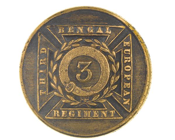 Officer's button, 3rd Bengal European Regiment, c1854