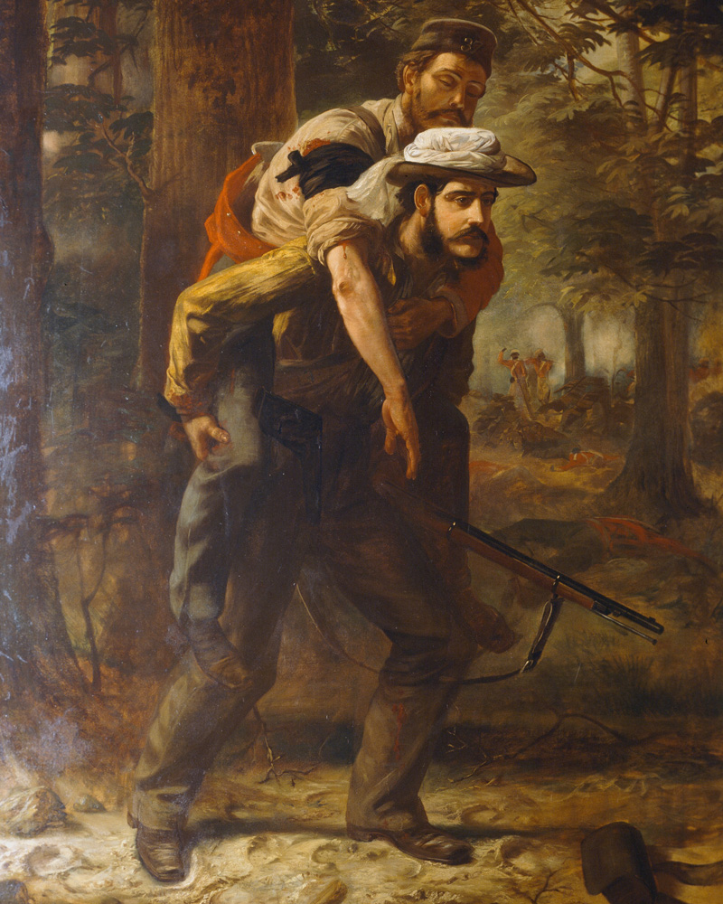 Assistant Magistrate Ross Mangles carrying a wounded soldier of the 37th Regiment during the relief of Arrah, 1857