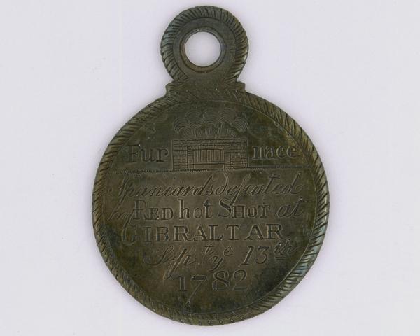 Red hot shot medal for the defence of Gibraltar, 1782