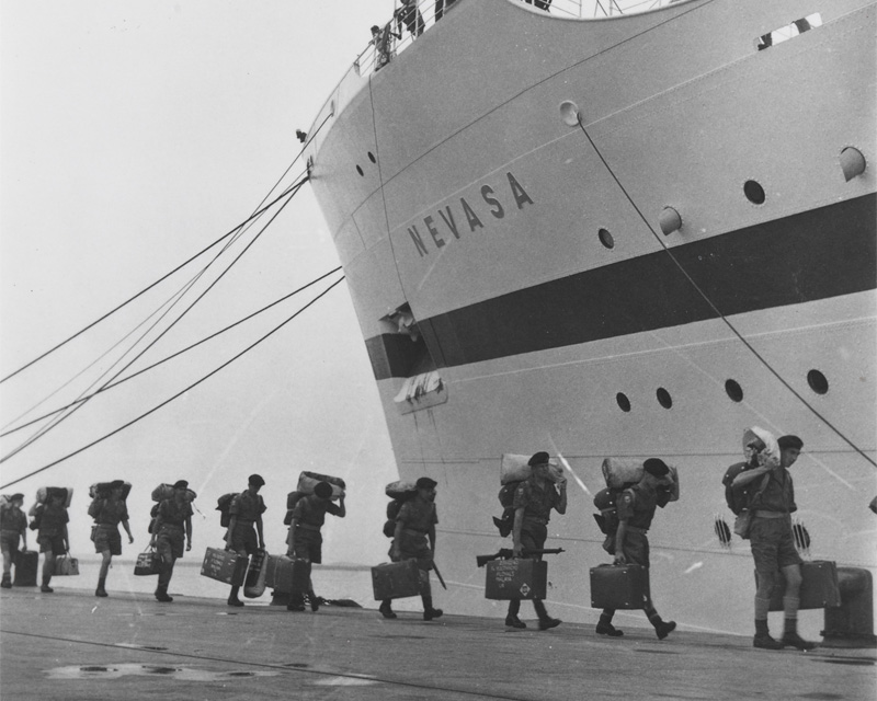 Boarding the troopship Nevasa on route to Malaya, 1957