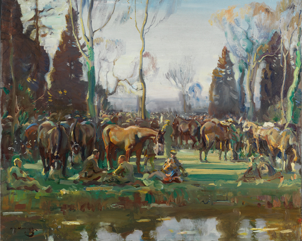 Cavalry halted on the march by a stream at Nesle, 1918