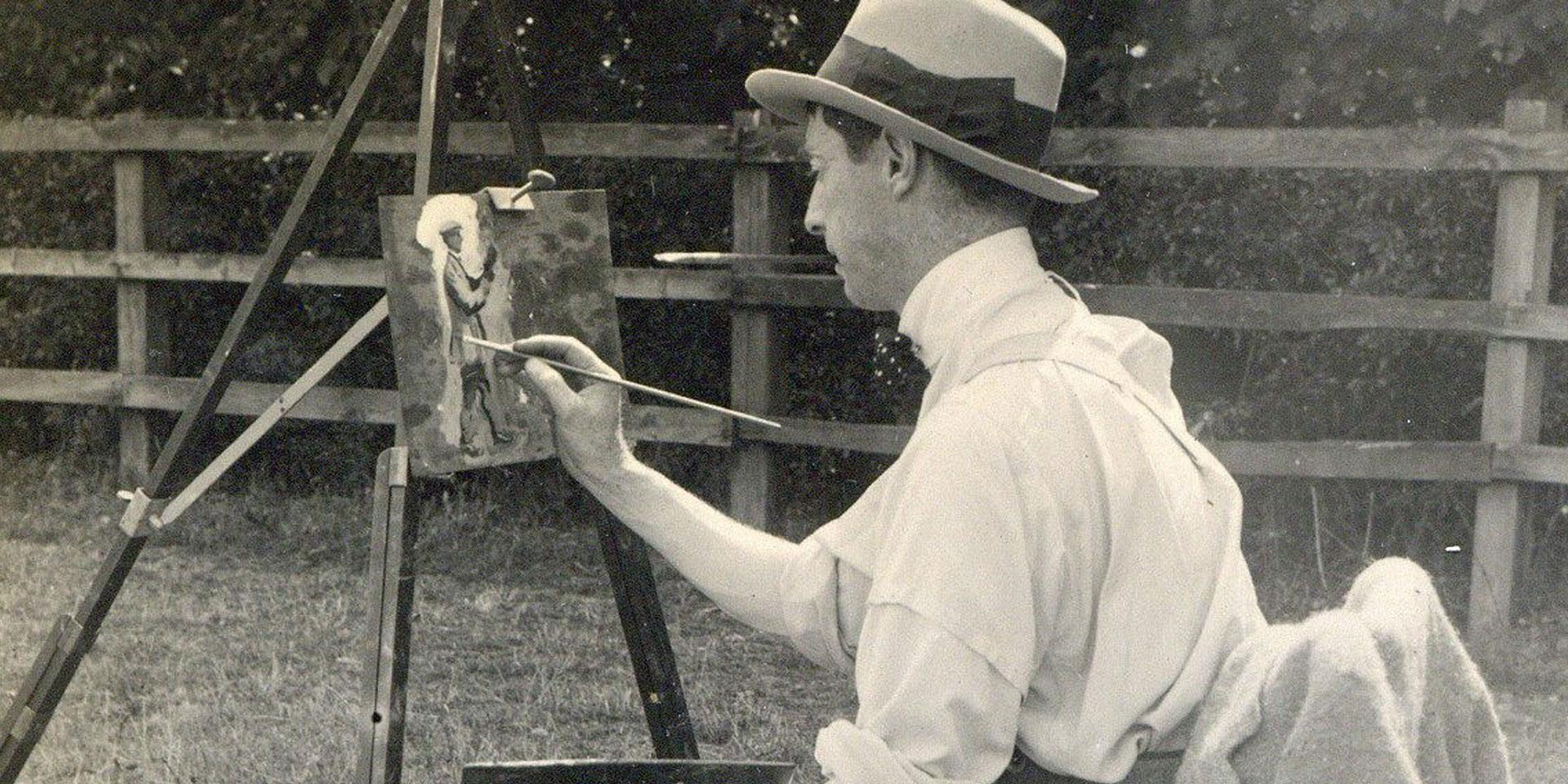 Alfred Munnings at work, c1914