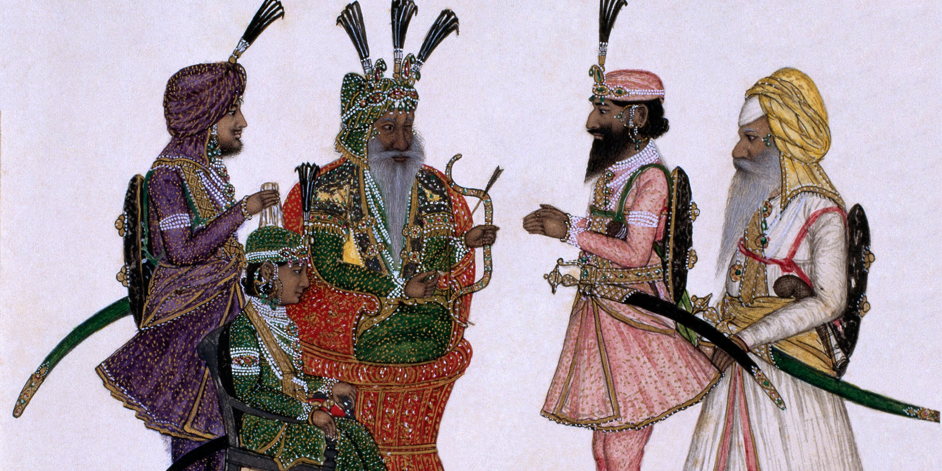 Maharaja Ranjit Singh with Sikh leaders, c1850