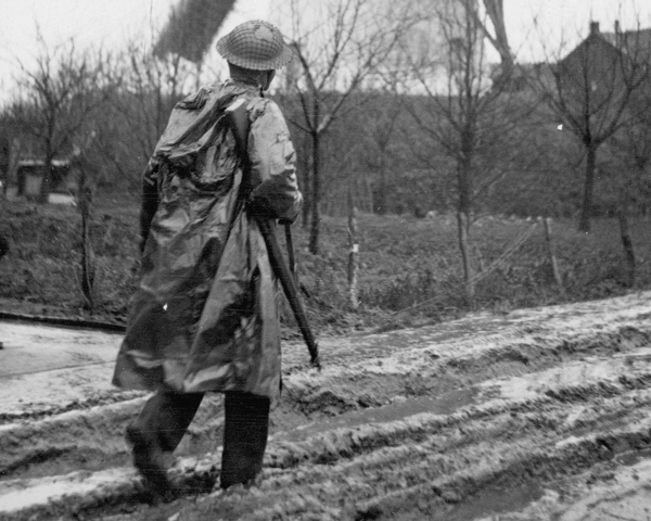 A member of the 7th Royal Welsh Fusiliers on patrol in the Netherlands, 1944