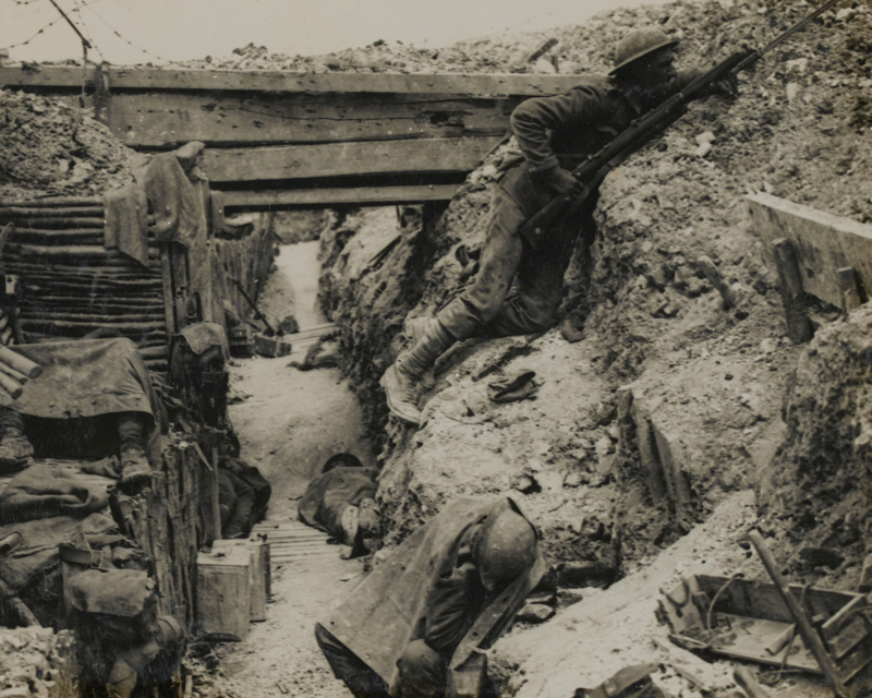 Soldiers of the 11th Cheshire Regiment in a trench near La Boisselle, 1916