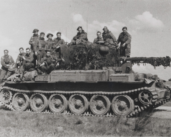 A Challenger tank loaded with men of the 1st Cheshire Regiment, 1945