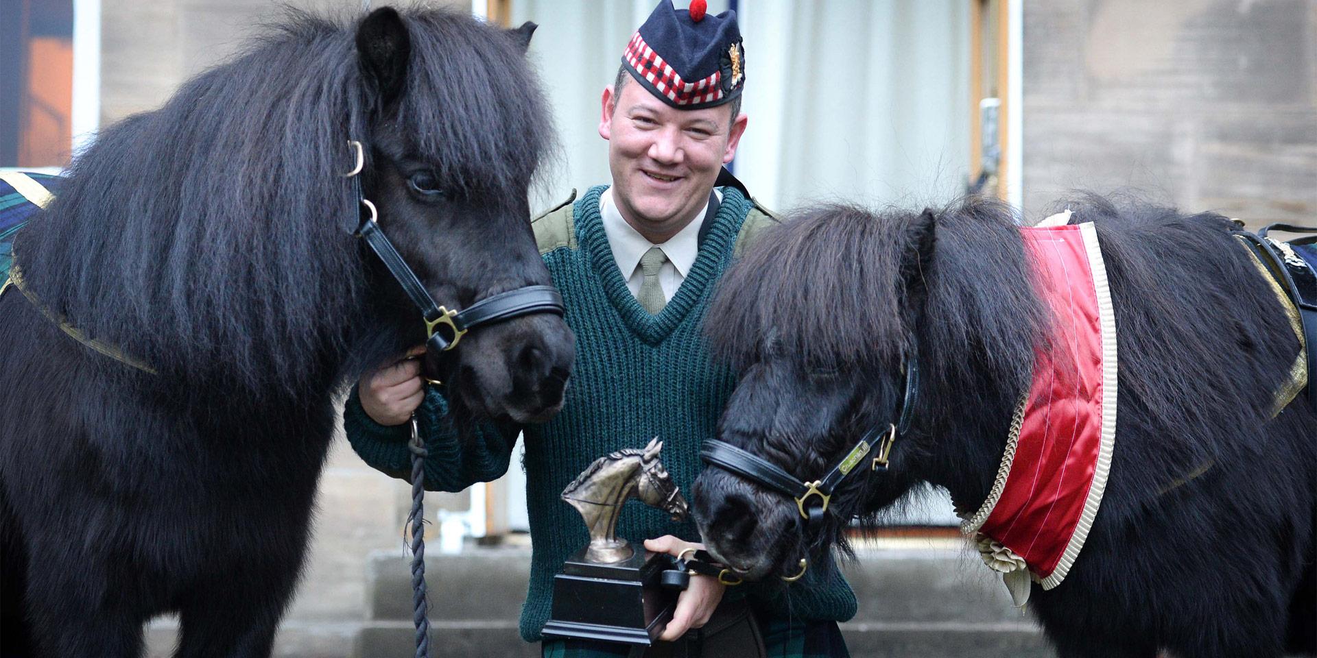 Pony Major Corporal Mark Wilkinson with Cruachan III, and Cruachan IV, his successor as regimental mascot of the Royal Regiment of Scotland, Edinburgh, 2015