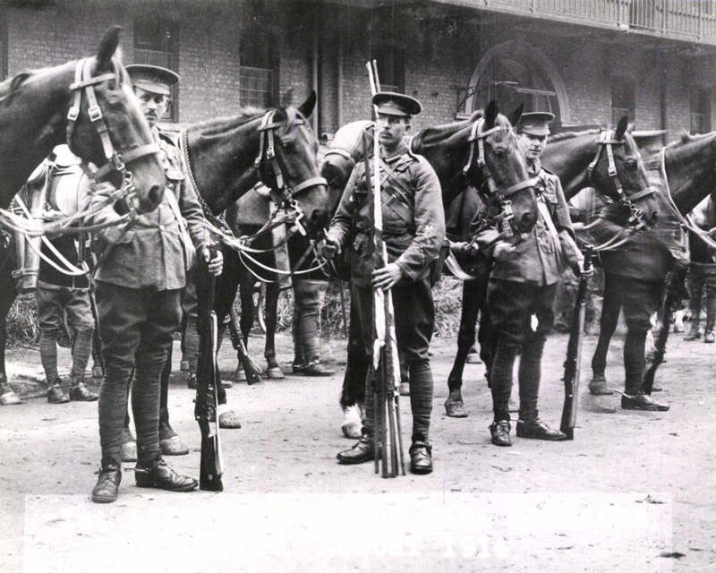 1st Life Guards mobilising at Hyde Park Barracks, August 1914