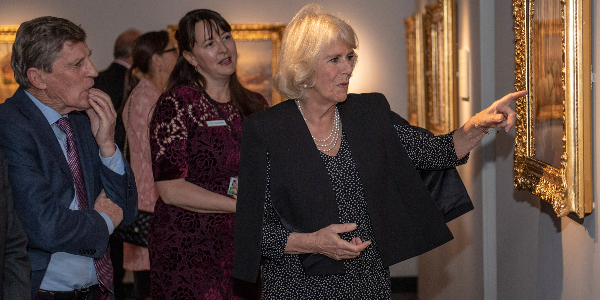 The Duchess of Cornwall visiting the Alfred Munnings exhibition at the National Army Museum, 2018