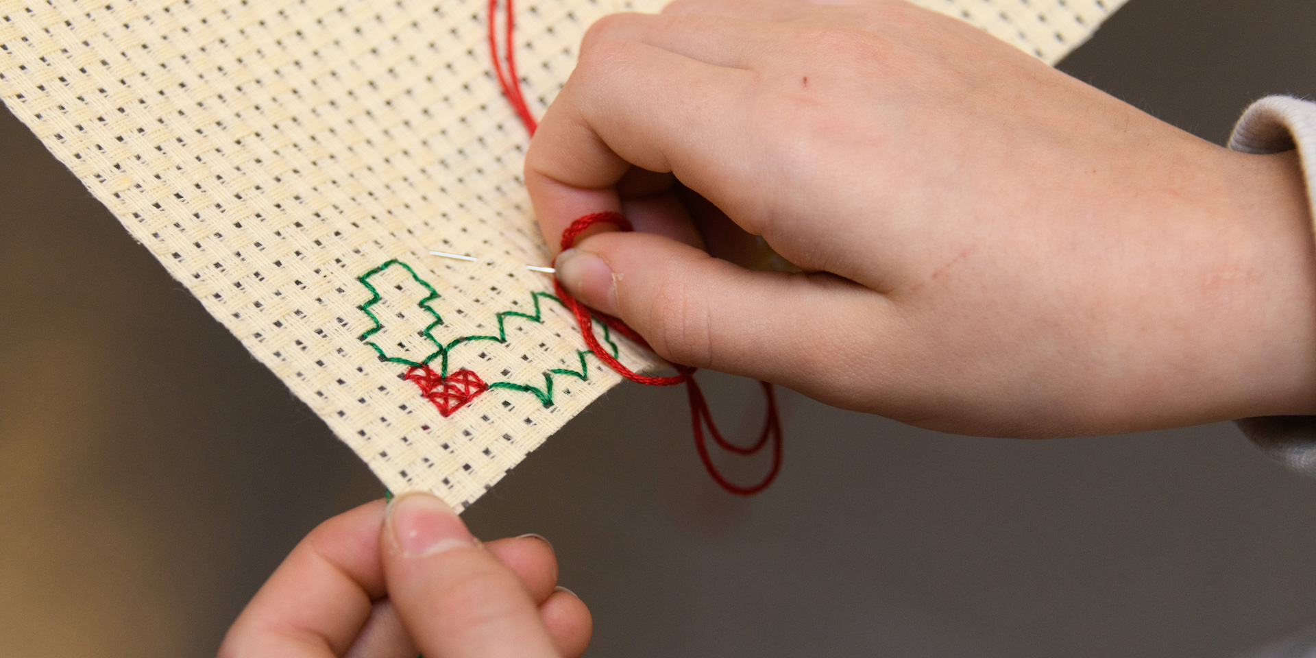 Embroidering Christmas postcards