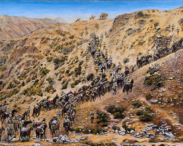 7th (Bengal) Mountain Battery going into action near Kaniguram, Waziristan, 1920