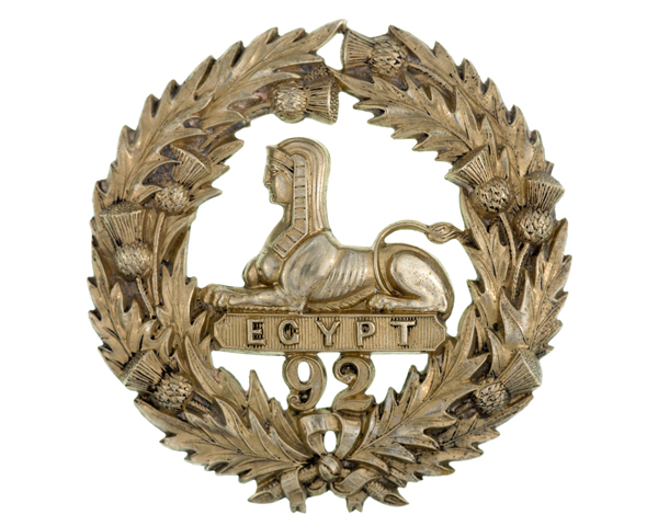Glengarry badge, 92nd (Gordon Highlanders) Regiment, c1874