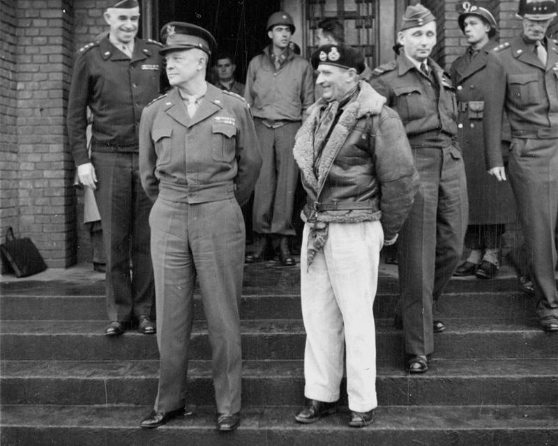 Allied commanders, including Generals Dwight Eisenhower and Bernard Montgomery, 1944