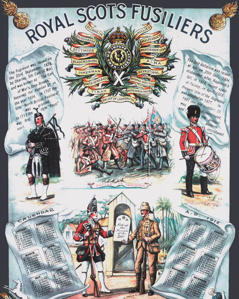 Recruiting poster for The Royal Scots Fusiliers, 1912