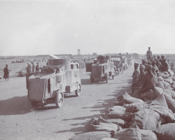 Armoured vehicles of the Seranni Column on reconnaissance, Kaur Bridge, Waziristan, 1919