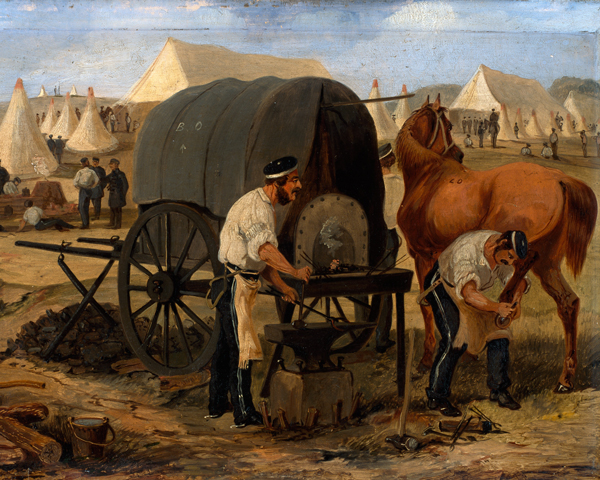 Farriers of the 17th Lancers shoeing a horse from a mobile forge, Chobham Camp, 1853