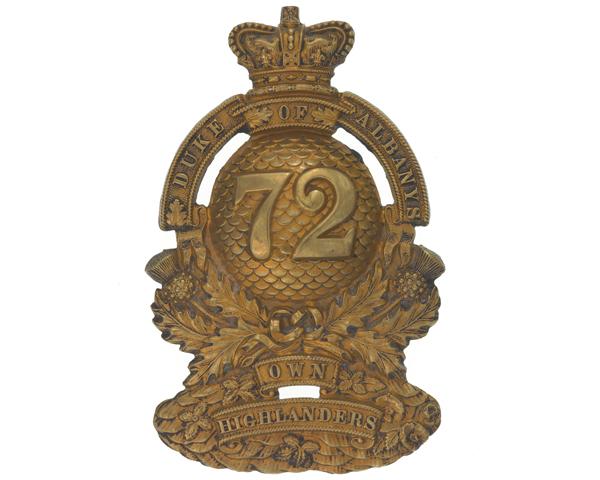 Glengarry badge, 72nd (Duke of Albany's Own Highlanders) Regiment, c1874