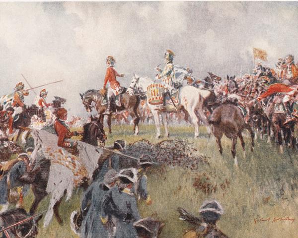 British cavalry with a captured standard, Emsdorf, 1760