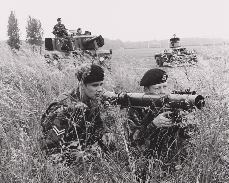 An 84 mm Carl Gustav rocket launcher being used by soldiers of the 17th/21st Lancers, c1975