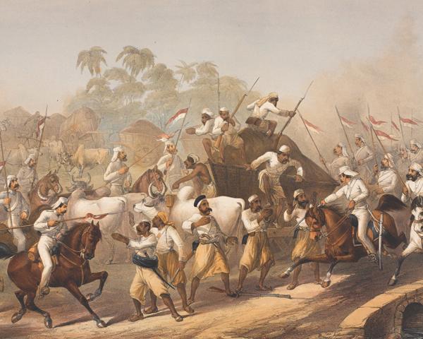 Men of the 9th Lancers capturing mutineers, 1857
