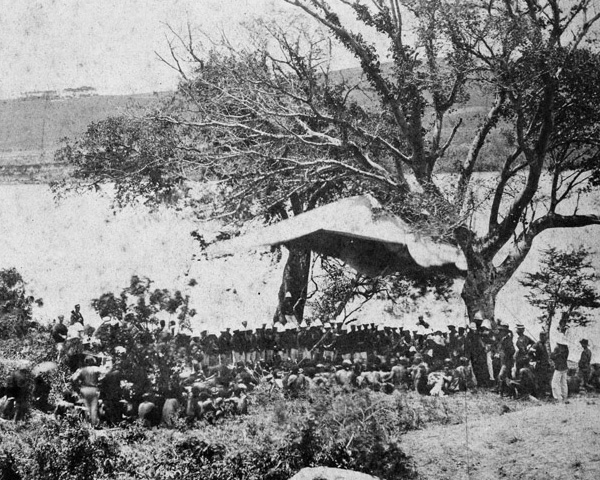 The British reading Sir Bartle Frere's ultimatum to the Zulu chiefs on 11 December 1878
