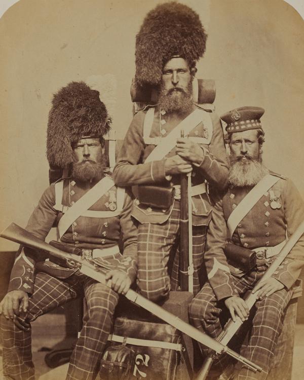 Three members of the 72nd Highlanders, 1856