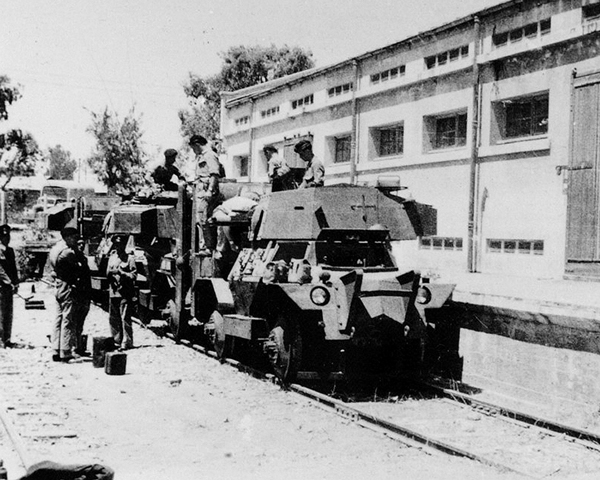 Armoured railcars used by the 12th Royal Lancers in Palestine, 1946