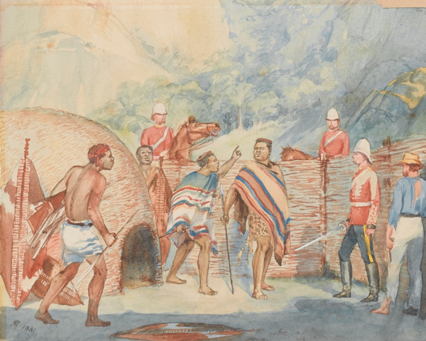 The capture of King Cetshwayo by Major Richard Marter, 1st King's Dragoon Guards, 1879