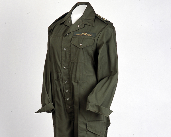Overalls worn by the Duchess of Kent, colonel-in-chief of the 4th/7th Royal Dragoon Guards, c1990