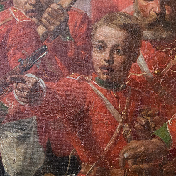 Detail of the drummer boy on the restored painting