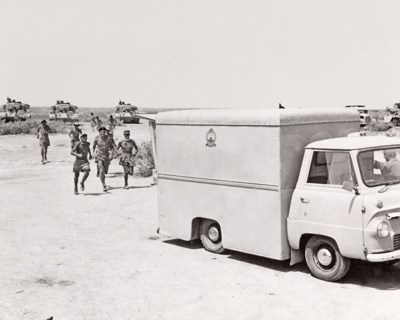 A NAAFI van with Centurion tanks of the 3rd Carabiniers, Kuwait, 1961
