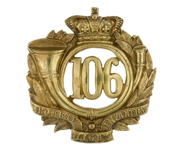 Glengarry badge, 106th Regiment of Foot (Bombay Light Infantry), c1874