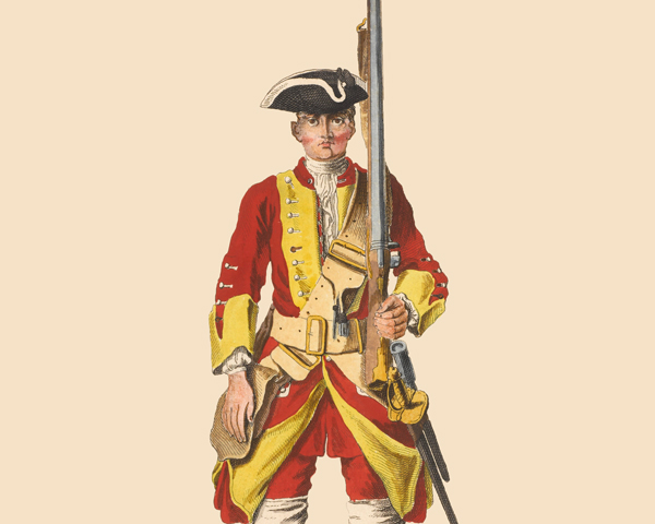 A soldier of the 26th Regiment of Foot, c1742