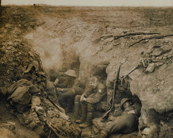 Welsh Guards in a reserve trench at Guillemont on the Somme, September 1916