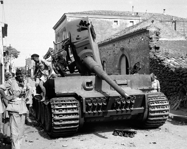 British soldiers explore a knocked-out Tiger at Belpasso, Sicily 1943