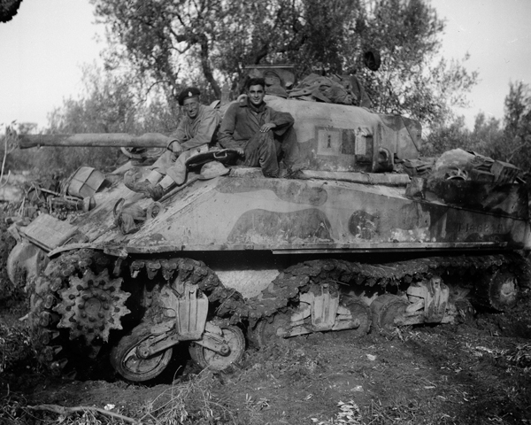 A Sherman of 3rd County of Yeomanry (Sharpshooters) damaged after hitting a mine, 1943